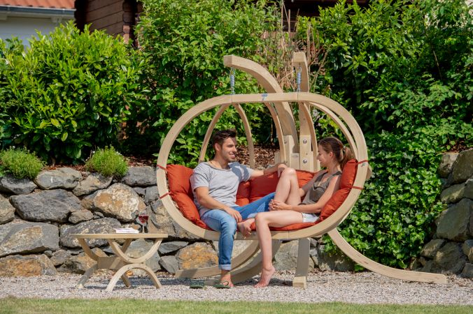 Hanging Chair with Stand 'Globo Royal' Terracotta
