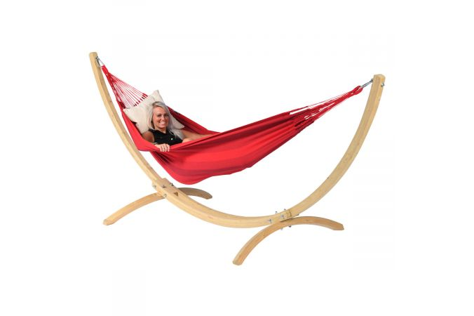 Hammock with Single Stand 'Wood & Dream' Red