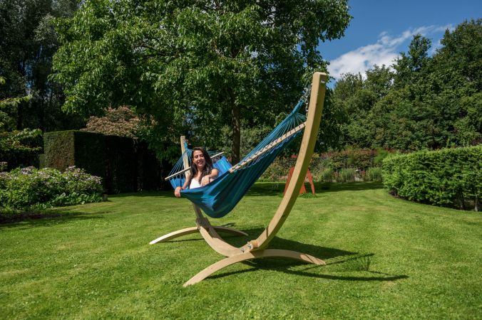 Hammock with Single Stand 'Wood & Relax' Blue