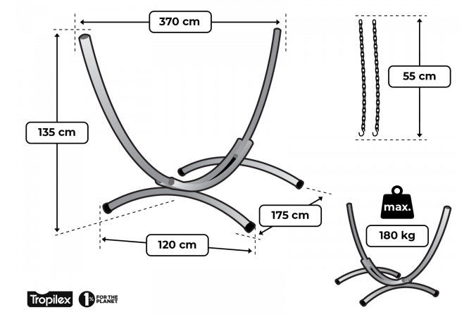Hammock Stand Double 'Arc'