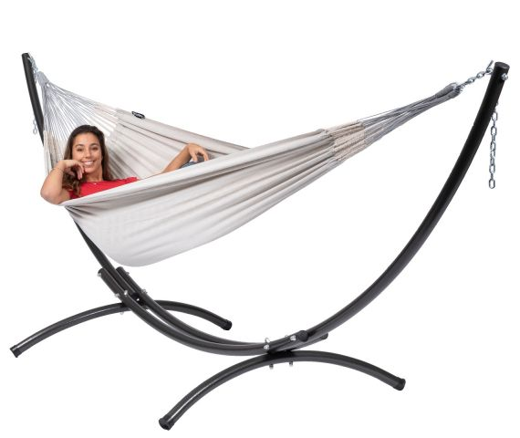 Hammock with Double Stand 'Arc & Comfort' Pearl