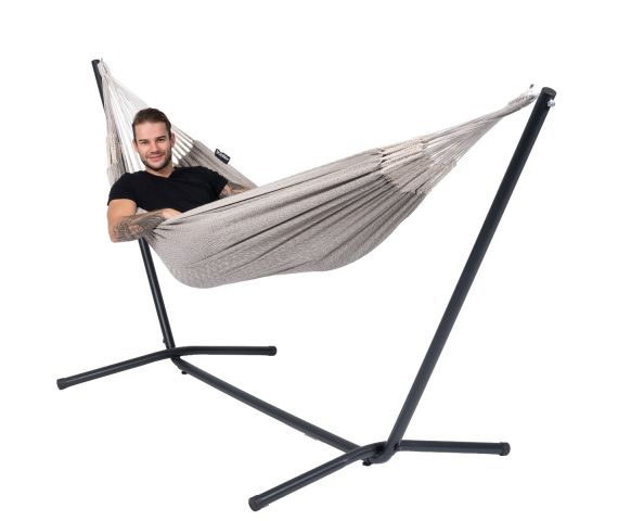 Hammock with Single Stand 'Easy & Natural' Brown