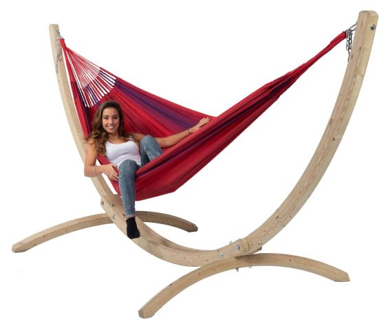Hammock with Family Stand 'Wood & Refresh' Bordeaux