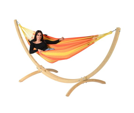 Hammock with Single Stand 'Wood & Dream' Orange