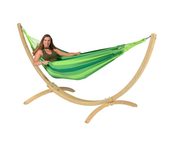 Hammock with Single Stand 'Wood & Dream' Green